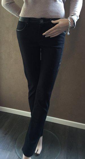 River Island schwarze Jeans mit Ledereinsätzen