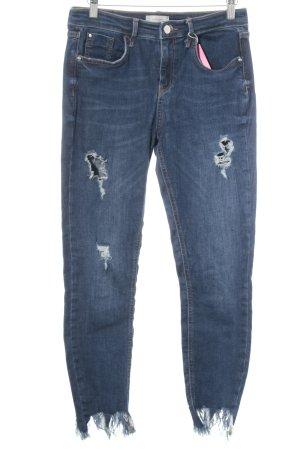 River Island Skinny Jeans blau Destroy-Optik