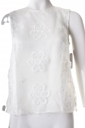 River Island Spitzentop hellgelb-weiß florales Muster Materialmix-Look