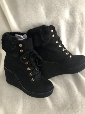 River Island Wedge Booties black-gold-colored