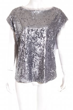 River Island T-Shirt grau Glitzer-Optik