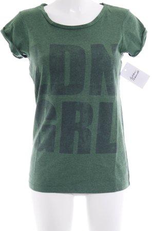 River Island T-Shirt waldgrün Schriftzug gedruckt Casual-Look