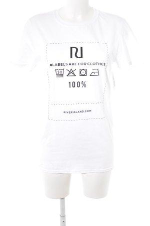 River Island T-Shirt weiß-schwarz Schriftzug gedruckt Street-Fashion-Look