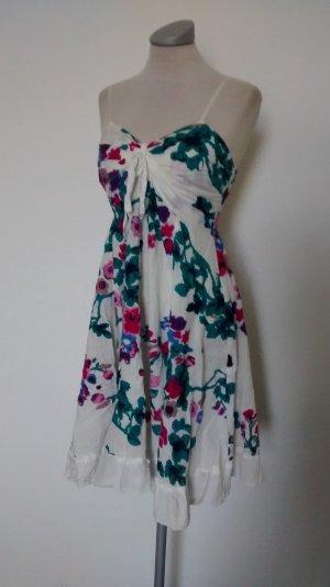 River Side Sommerkleid Gr. 36 Kleid kurz weiß Blumen neu Baumwolle