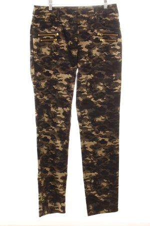 Robell Jeans schwarz-goldfarben Camouflagemuster Military-Look