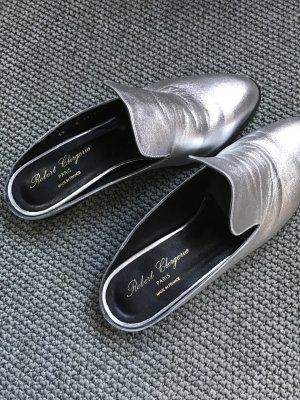 """Robert Clergerie Loafer """"Alicel"""" Größe 39 Lederloafer Slippers Silber"""