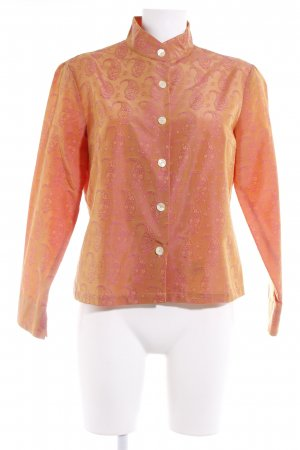 Robert Friedman Stand-Up Collar Blouse apricot-pink paisley pattern elegant