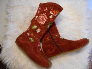 Roberto Cavalli Angels bestickte echt Leder Designer Stiefel Rot Boho Vintage
