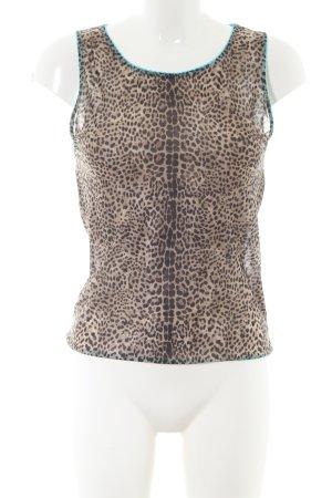 Roberto Cavalli Top básico marrón-crema estampado de leopardo look casual