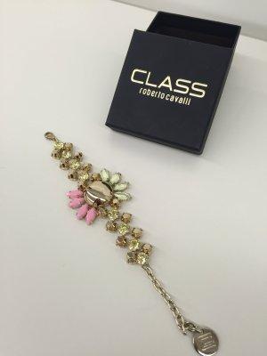 Roberto Cavalli Bracciale Armband Blume gold rosa hellgrün Strass Original