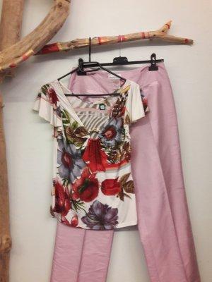 Roberto Cavalli T-shirt col en V rouge-blanc
