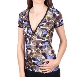 ROBERTO CAVALLI Damen T-shirt kurzarm Schmetterling Gr. S 36 NEU