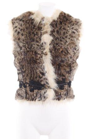 Roberto Cavalli Smanicato di pelliccia marrone scuro-crema modello misto soffice