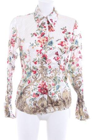 Roberto Cavalli Glanzbluse florales Muster extravaganter Stil