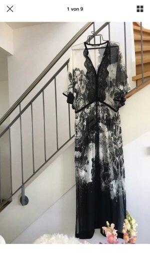Cavalli Caftan white-black silk