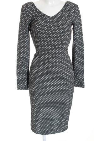 Roberto Cavalli Langarmkleid schwarz-weiß grafisches Muster Elegant