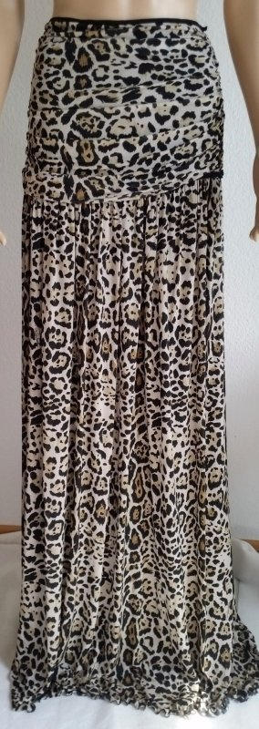 Roberto Cavalli Maxi gonna marrone-crema Cupro