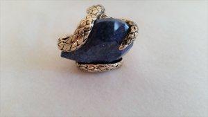 Roberto Cavalli, Ring, Anello Stone Snake Metal Ring, Blau, 12, neu