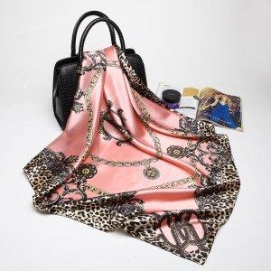 Roberto Cavalli Sciarpa di seta rosa chiaro-nero Seta
