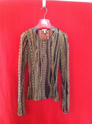 Roberto Cavalli Mesh Shirt black-gold-colored mixture fibre
