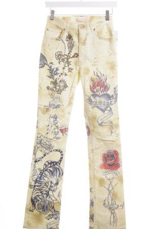 Roberto Cavalli Straight-Leg Jeans goldfarben-braun florales Muster Casual-Look