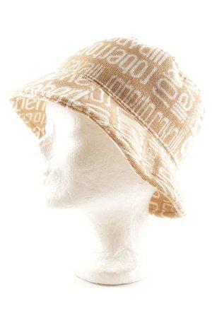 Roberto Cavalli Sombrero de punto beige-blanco puro Patrón monograma