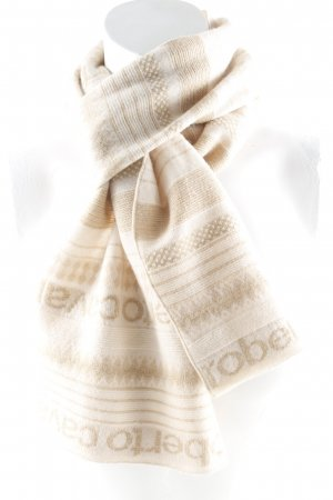 Roberto Cavalli Knitted Scarf gold-colored-camel monogram pattern