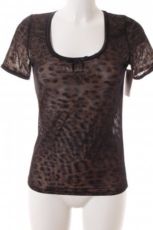 Roberto Cavalli T-Shirt schwarz-hellbraun Leomuster Transparenz-Optik