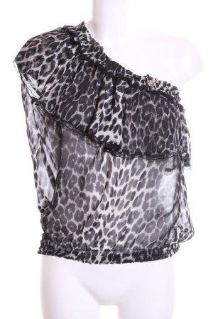 Roberto Cavalli Transparenz-Bluse schwarz-weiß Animalmuster Elegant