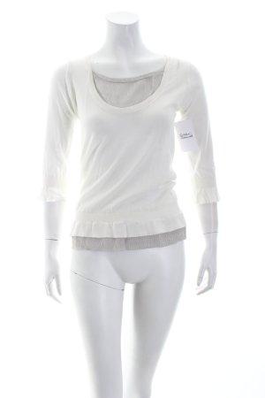 Roberto Collina Rundhalspullover weiß-grau Materialmix-Look