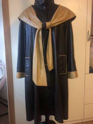 Abrigo de cuero negro-coñac Cuero