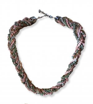 Rocailleperlen Kette rose - lindgrün - silber