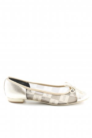Rocco Barocco Foldable Ballet Flats gold-colored-beige check pattern