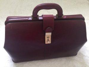 rochas Paris Vintage Leder Tasche arzttasche Bordeaux weinrot
