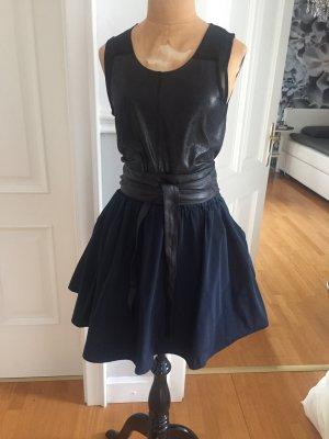 Falda de tafetán azul oscuro