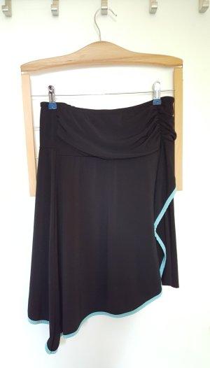 Jupe asymétrique noir-turquoise