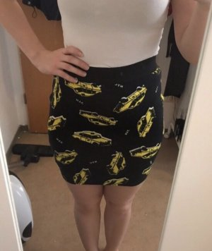 Falda de talle alto negro-amarillo pálido