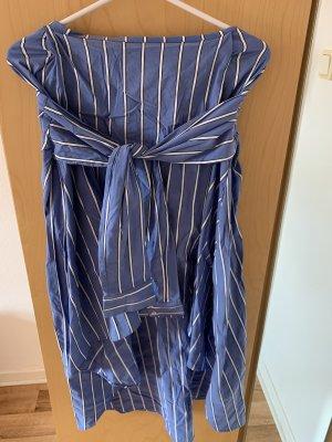 Zara Falda de talle alto blanco-azul acero