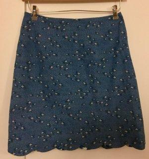 Blutsgeschwister Midi Skirt blue-white cotton