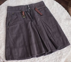 Zara Basic Midi-rok grijs-bruin Katoen