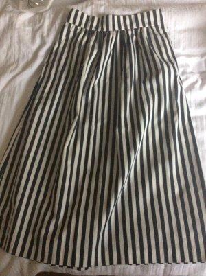 Zara Fringed Skirt white-dark blue cotton