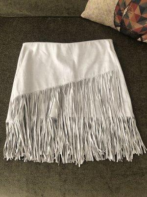 Zara Fringed Skirt light grey