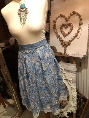 Ana Alcazar Jupe taille haute blanc-bleu clair