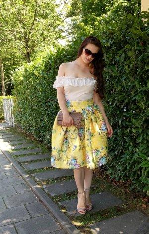 Rock Asos Gr. 34 XS Neopren Midi gelb blumen floral scuba Spitze feminin elegant