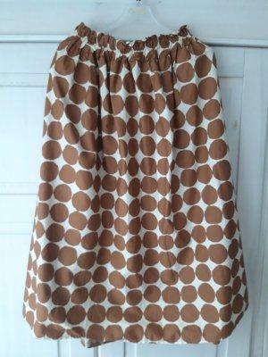 B.yu Italy Midi Skirt white-brown