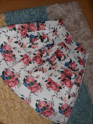 Amisu Falda de talle alto blanco-rosa