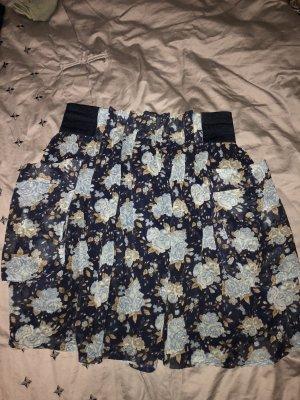 H&M Falda de talle alto azul oscuro-gris verdoso