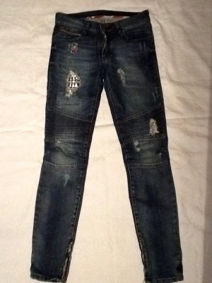 'Rock Chic' Biker- Jeans mit Nieten