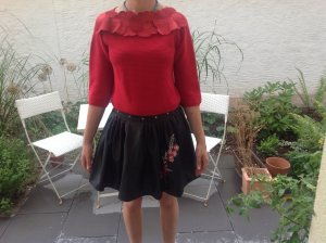 1 NY tee Faux Leather Skirt black-magenta polyester