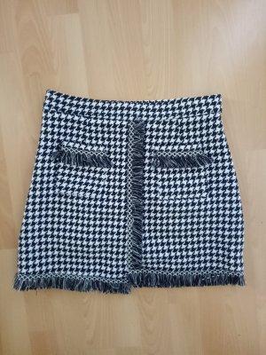 Rock Fransen Taillenrock Tweed Hahnentritt Schwarz Weiß Business S M 36 38